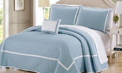Chic Home Geometrical Embroidered Quilt 8-Piece - Blue - Size: King