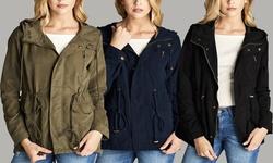 Poly Peach Skin Hooded Utility Jacket: Black/medium