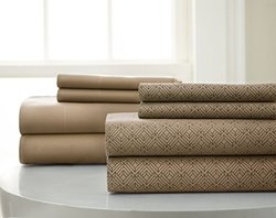 8-piece Set Diamond Printed Sheet: Taupe/cal King