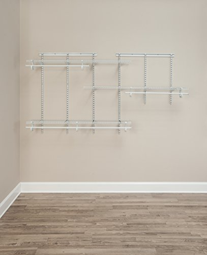 White Wire Closet Organizer Kit ClosetMaid 2075 ShelfTrack 5 Ft.   8 Ft.  White Wire Closet Organizer Kit ...