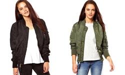 Kourtney Bomber Jacket: Olive/Small
