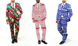 Braveman Men's Christmas Suits: Christmas Plaid/34sx28w