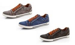Franco Vanucci Men's Denim Sneakers: Blue/7.5