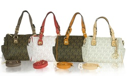 Wk Printed Leather Handbag: Brown-camel