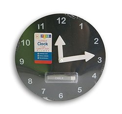 Black Chalkboard Teaching Clock with Chalk - 10'' Diameter
