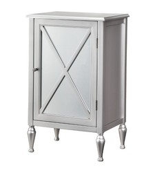 Hollywood Mirrored One Door Accent Cabinet - Black