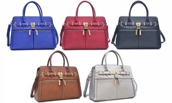 Dasein Kamron New York Pad Lock Satchel Handbag: Royal Blue/fn-03-6750