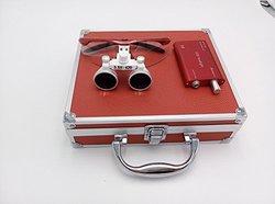 Aphrodite New 3.5x 420mm Surgical Binocular Loupes +Head Light Lamp +Aluminum Box red