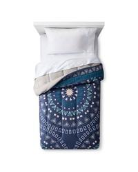 Room Essentials Medallion Comforter Set - Dark Blue - Size: Twin