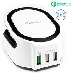 Wireless Charging Pad Stand Station - Qualcomm Quick Charge 3.0 [3 USB Charging Ports]