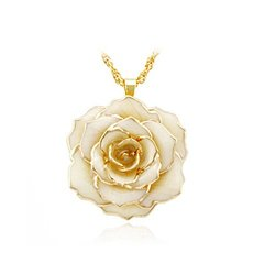 ZJchao 30mm Golden Necklace Chain with 24k Gold Dipped Real Cream Rose Pendant