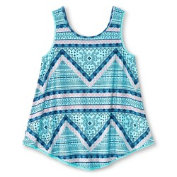 Xhilaration Girls' Crochet Trim Tank Top - Aqua - Size: Large