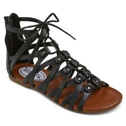 Stevies Girls' #trendy Ghillie Gladiator Sandal - Black - Size: 3