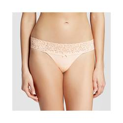 Xhilaration Women's Cotton Wide Lace Thong Panty - Feather Peach - Size: L