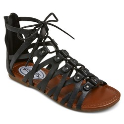 Stevies Girls' #trendy Ghillie Gladiator Sandal - Black - Size: 4