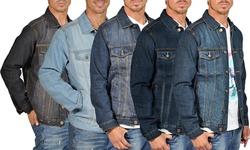 Mens Denim Jacket With 2 Flap Pocket Button Closure: Blkbla - 2x