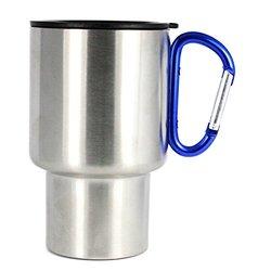 AGS Brand Stainless 14oz Carabiner Travel Mug 2-Pk-Red Blue