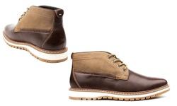 Vincent Cavallo Men's Two-Tone Chukka Boots - Dark Brown - Size: 10