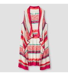 Xhilaration Girl's Striped Sweater Vest - Pink - Size: Small