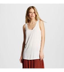 Who What Wear Women's Lace Illusion Tank - White - Size: 2XL