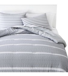 Room Essentials Textured Rugby Stripe Duvet Cover Set - Gray -Size: Twin