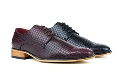 Plain Toe Diamond Cut Dress Shoes For Men: Brown - 8.5