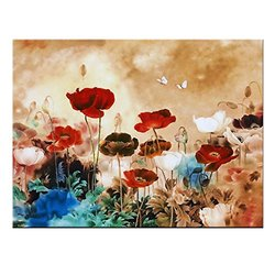 "Wieco Art 39-1/3"" x 29.5"" Blooming Poppies Gallery Wrapped Floral Painting"
