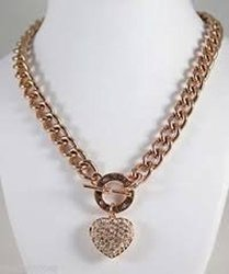 Guess Bling Heart Rhinestones Crystal Necklace, Rose Gold, Nwt