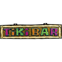 Amscan Hawaiian Summer Luau Party Tiki Bar Form Hanging Sign Decoration, Multi Color, 43.25 X 10.25""
