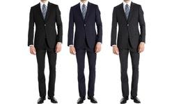 Braveman Men's Slim Fit 2-piece Pinstripe Suit: Navy/42rx36w