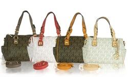 WK Printed Leather Handbag: White-Camel