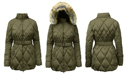 Spire By Galaxy Women's Bubble Jacket - Olive - Size: Large