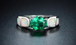 Sevil Women's 18k White Gold Nano Emerald & Fire Opal Ring - Size: 8