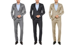 Verno Men's Classic Fit Sharkskin Suits: Classic Silver/44lx38w