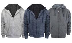 Lee Hanton Men's Full Zip Sherpa-Lined Fleece Hoodie - L Grey - Size: M
