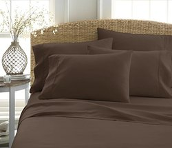6-Piece Bed Sheet Set by ienjoy Home Collection - 100% Ultra-Soft Microfiber bedding - Deep Pockets for Oversized Mattresses - Wrinkle Free - Queen, Chocolate