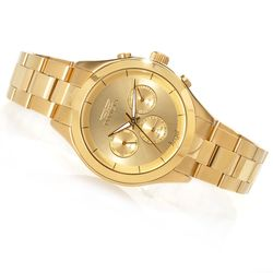 Women's Angel Quartz Multifunction Stainless Bracelet Watch - Goldtone