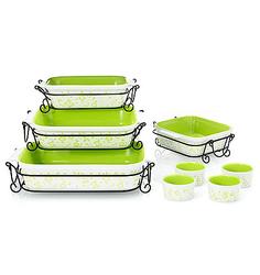 Cook's Companion 20-Piece Ceramic Bakeware Set - Green