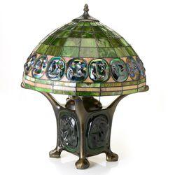 Tiffany Style Double Lit Green Turtleback Table Lamp - Green