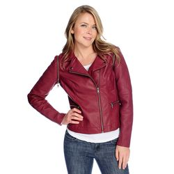 Kate & Mallory Pu Jacket With Texture & Stitch Detail & Zip Off Sleeve Wine 1x