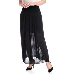 Pamela Mccoy Chiffon Crystal Pleat Maxi Skirt Black 1x