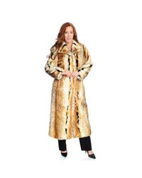 Goh Pamela Mccoy Long Faux Fur Coat Natural Lynx Large