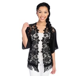 Kate & Mallory Women's Open Shrug with Lace - Black - Size: 2X