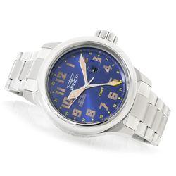 Ttv Invicta Men's Russian Aviator Quartz Gmt Stainless Bracelet Watch W/ 10-slot Blue Men's