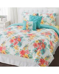 "Cozelle Microfiber ""biscayne"" Printed 5 Piece Comforter Set Multi King"