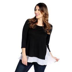 Kate & Mallory Side Zipper Woven Detail 3/4 Sleeve Top Black/white 3x