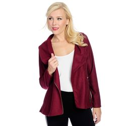 Marc Bouwer Long Sleeve Jacket With Moto Zip & Stitch Detail Berry XL