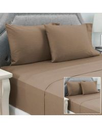 North Shore Linens 600tc 100% Pima Cotton Estate Stripe 8-piece Sheet Set Taupe Full