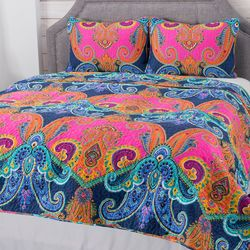 "Cozelle ""hot Cayenne"" Microfiber 3 Piece Quilt Set Multi King"