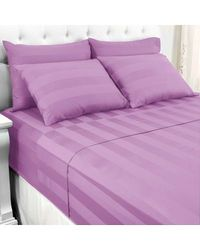 North Shore Linens 500tc 100% Cotton Damask Suresoft 6 Piece Sheet Set Lilac King